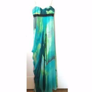 BCBGMaxazria- Watercolor Chiffon Strapless Dress